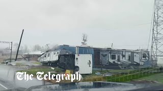 video: Hurricane Ida: Louisiana hit with 150mph winds, leaving one person dead