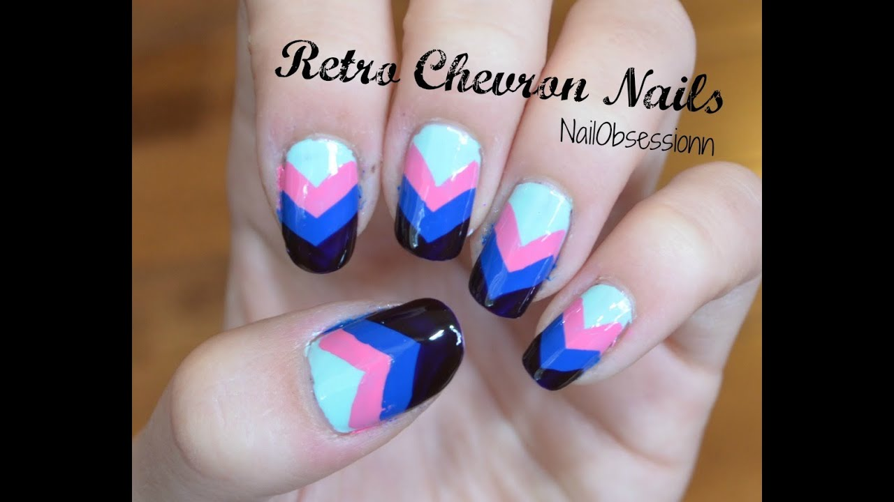 Easy Retro Chevron Nails No Tools Required