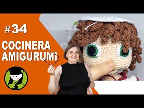 COCINERA AMIGURUMI 34 gorro de cocinera tejido a crochet
