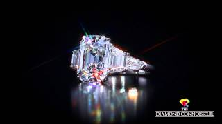 Five stone ring featuring a 5 carat D/Flawless Emerald cut diamond by The Diamond Connoisseur