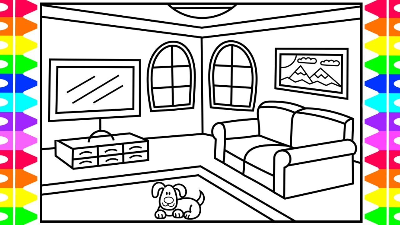 How To Draw A Living Room For Kids Drawing Coloring Pages