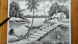 how to draw easy pencil sketch  scenery ,landscape pahar and river side scenery drawing,