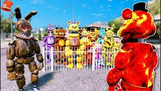 WILL LAVA FREDDY SAVE THE ANIMATRONICS FROM TWISTED SPRINGTRAP? (GTA 5 Mods For Kids FNAF RedHatter)