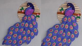 beautiful peacock wall hanging from eva foam   Ice cream stick crafts   popsicle stick craft   DIY 