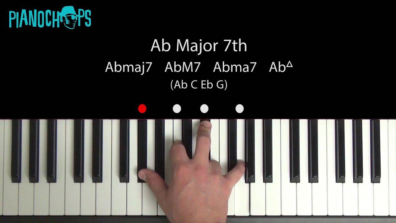 B Minor Piano Chord Ab (flat) Major 7 on P...