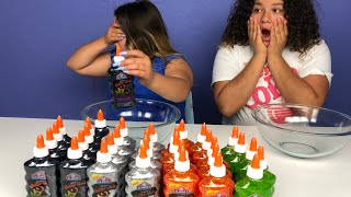 3 COLORS OF GLUE SLIME HALLOWEEN CHALLENGE!