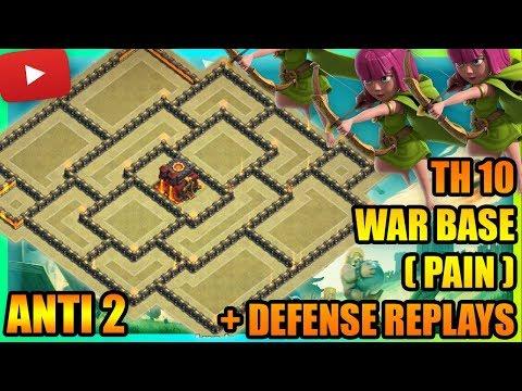 Clash Of Clans - Town Hall 10 (TH10) War Base 2017 + Defense Replays | ANTI 2 STAR | ANTI AIR