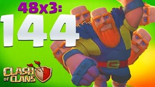 144 MAX LEVEL 7 GIANTS! | Clash of Clans Attacks!