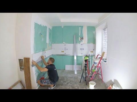"""Укладка кафеля на рабочую стенку. Кухонный """"фартук"""""""