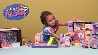 Littlest Pet Shop Pets Birthday Party Story with LPS Coffee Shop Toy Set and Little Pet Shop Pets