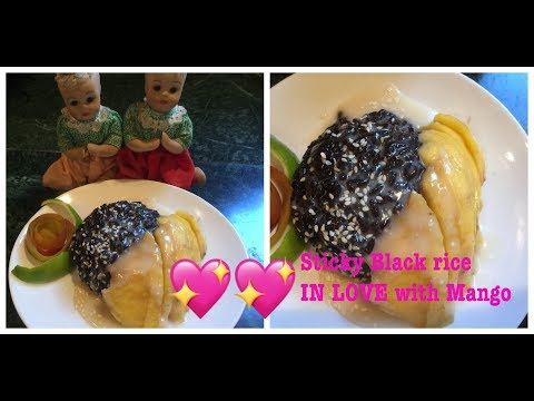 How to make delicious Sticky Black rice IN LOVE with Mango! Listed ingredients click 🔼ข้าวเหนียวมะม