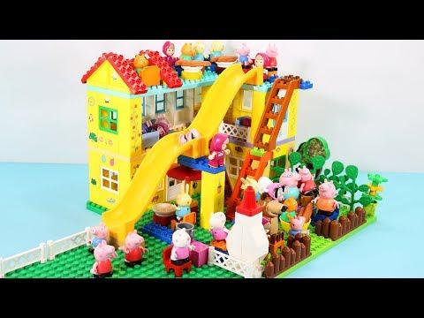 Peppa Pig Blocks Mega House Construction Sets - Lego Duplo House With Water Slide Toys For Kids #5
