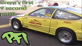 PFI Brent's first ever 9 second pass in The Bully CRX at Bandimere Speedway