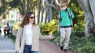 Jennifer Garner Tries To Keep Up With 'Daredevil' Son, Samuel Affleck In Brentwood!
