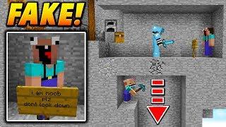FAKE NOOB PLAYER TROLL! - Minecraft SKYWARS TROLLING (FLOOR TRAP!)