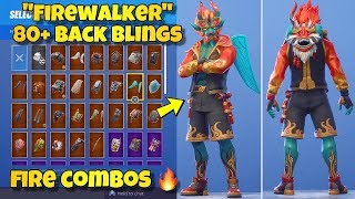 "NEW ""FIREWALKER"" SKIN Showcased With 80+ BACK BLINGS! Fortnite Battle Royale (FIREWALKER COMBOS)"