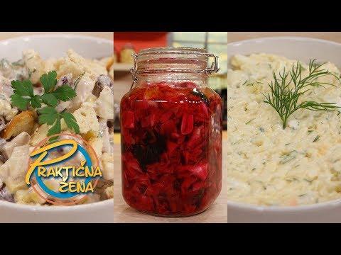 Praktična žena - Salata sa dimljenom piletinom i pasuljem; Kupus salata; Salata sa kuvanim jajima
