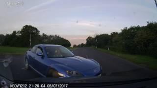 Grey VW Golf Dashcam Accident Blue Mazda RX-8