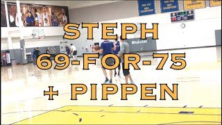 Steph Curry splashes 69-for-75 on 3s + Scottie Pippen w/ Steve Kerr after practice in Oakland