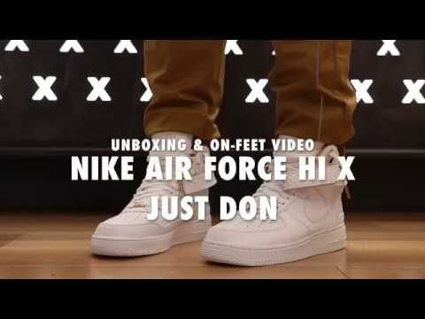 Nike Air Force 1 Hi X Just Don Unboxing & On feet Video at Exclucity