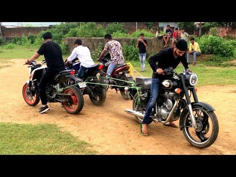 BULLET 500 VS PULSAR 220,DUKE & R15 V3 TOCHAN (575CC VS 500 CC ) || TUG OF WARS