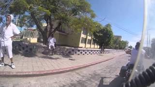 Riding through the streets of Belize City, Bellize