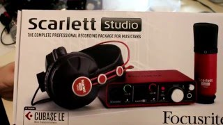 focusrite scarlett studio 2i2 kit unboxing