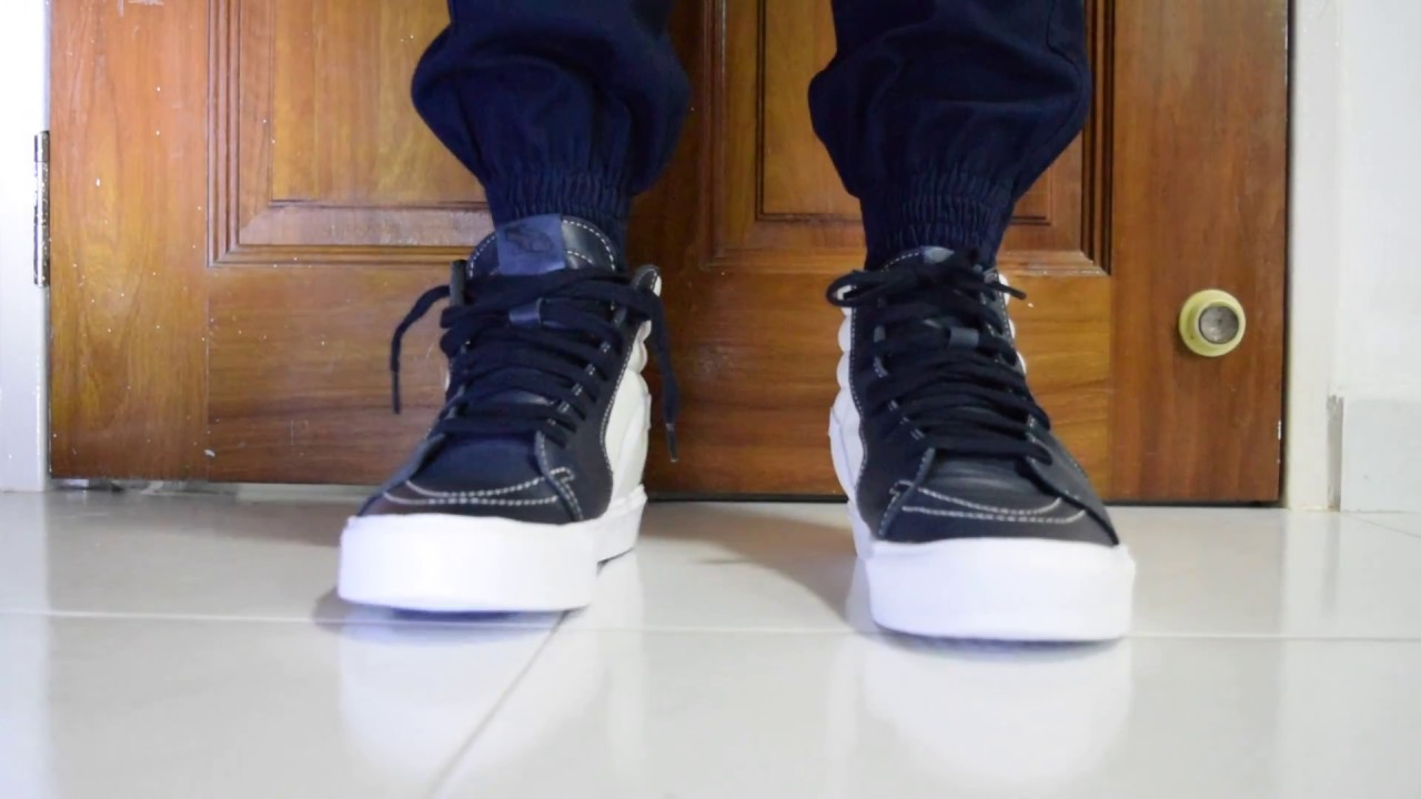 c8d562fed1 Vans Vault Sk8 Hi Lite LX (Marshmallow   Blue Nights) On Feet - YouTube