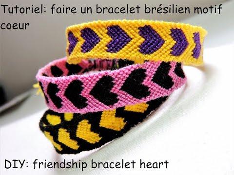 Tutoriel faire un bracelet brésilien motif coeur (DIY friendship bracelet  heart)