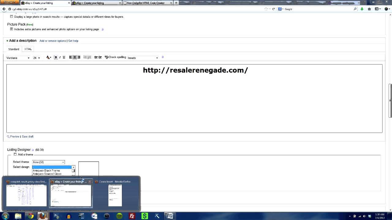 eBay Selling Tips: Using eBay Inserts Listing Templates - Resale ...