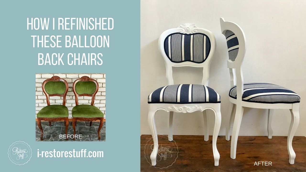 How I Refinished old Balloon Back Chairs - Hamptons Style - YouTube
