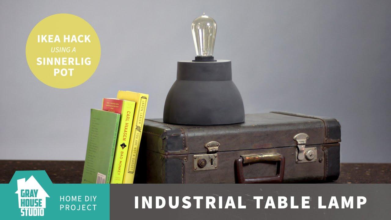 Ikea Sinnerlig Hanglamp : Industrial table lamp ikea hack sinnerlig pot youtube