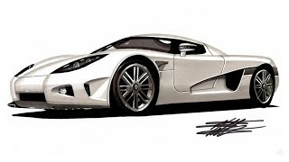 Realistic Car Drawing - Koenigsegg CCX - Time Lapse