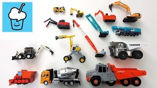 Learning Construction vehicles for kids with tomica トミカ siku VooV ブーブ 変身 bulldozer crane dump truck