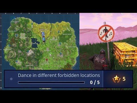 FORTNITE: *ALL FORBIDDEN DANCE LOCATIONS* (DANCE IN DIFFERENT FORBIDDEN LOCATIONS