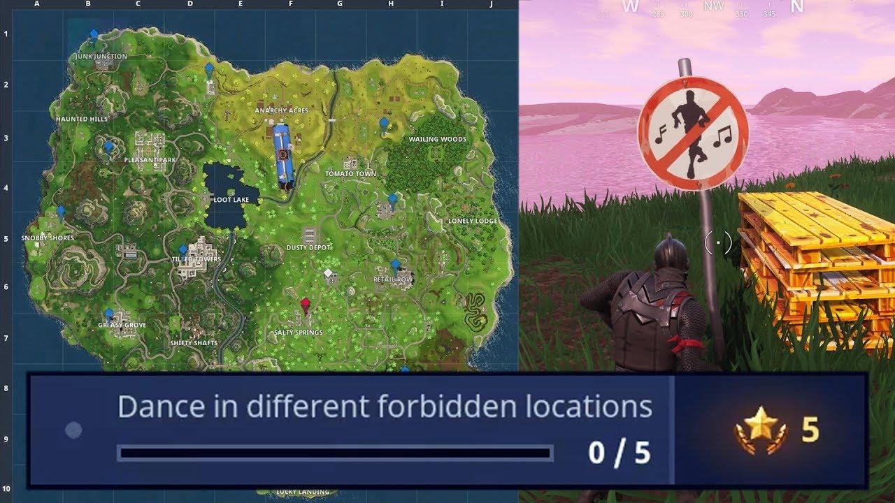 fortnite all forbidden dance locations dance in different forbidden locations - places to dance in fortnite