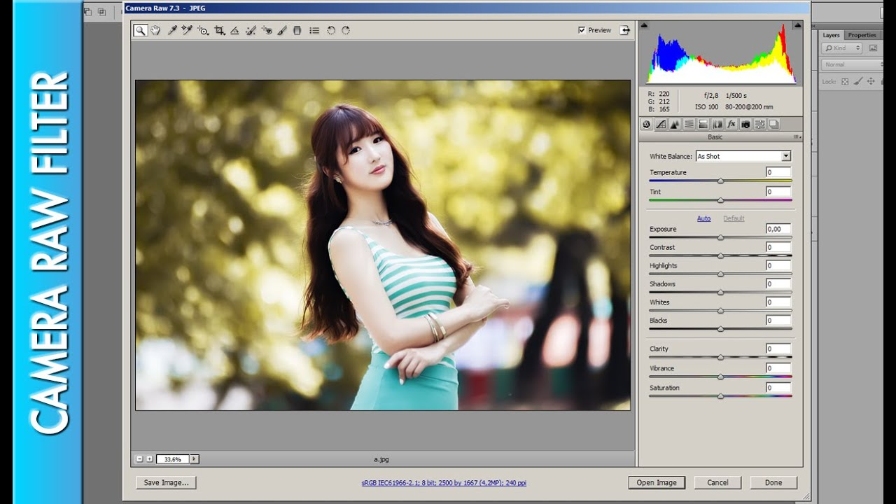 How To Use Camera Raw Filter For JPeg File - PHOTOSHOP CS6 - YouTube