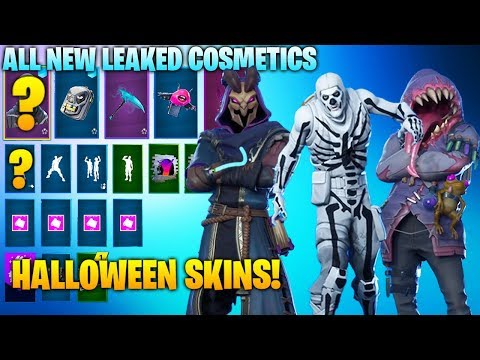 ALL *NEW* LEAKED HALLOWEEN, SKINS, EMOTES, PICKAXES IN FORTNITE! (Skull Trooper, Big Mouth, Wrath)