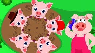 пять маленький поросенок  рифмовые песни  Five Little Piggies  Nursery Rhymes For Children