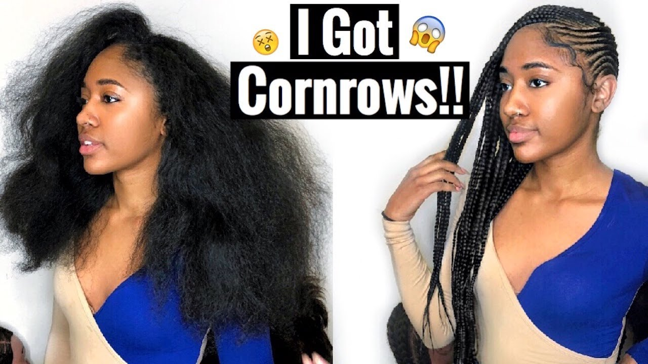 Watch Me Get Cornrows 1st Time Lemonade Braids To Side