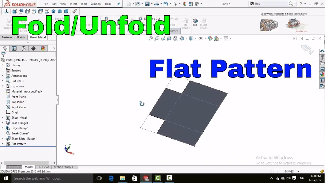 Solidworks Tutorial Understanding Sheet Metal Flat