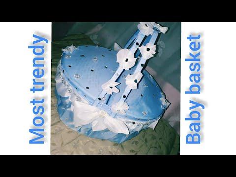 Baby basket decoration ideas/baby gift hamper/ blue basket cover!!most trendy