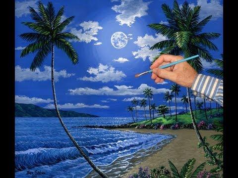 3d Om Live Wallpaper Pintar Uma Praia E Da Lua Usando Acr 237 Licos Sobre Tela 50 X
