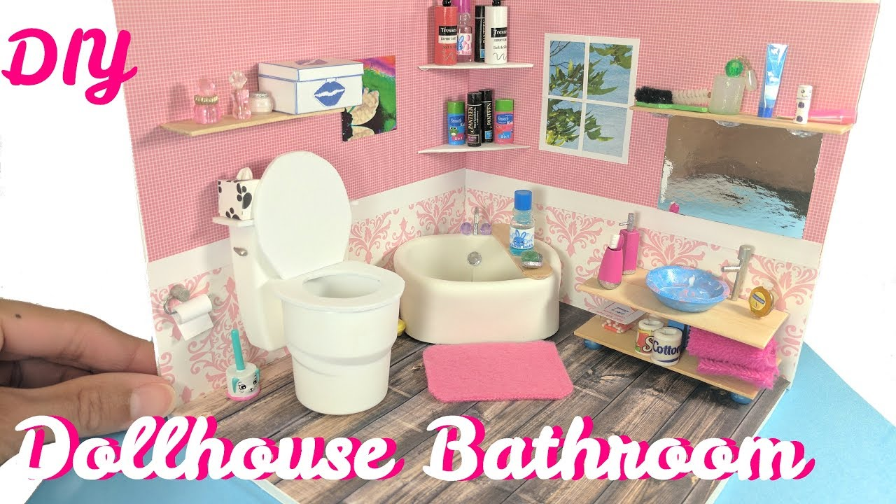 DIY Miniature Dollhouse Bathroom, Toilet, Sink, & Accessories