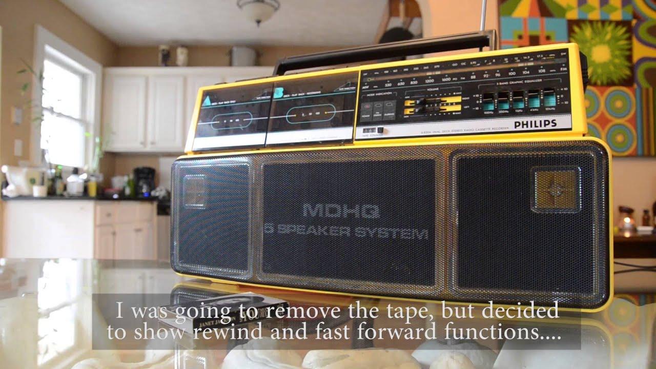 Philips d 8304 vintage stereo boombox ghetto blaster dual cassette 80 39 s - Philips ghetto blaster ...
