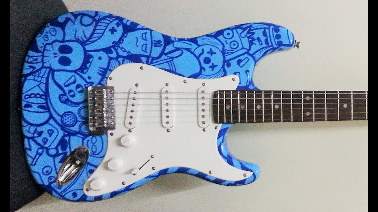 custom guitar paint job using posca pen with doodle art youtube. Black Bedroom Furniture Sets. Home Design Ideas