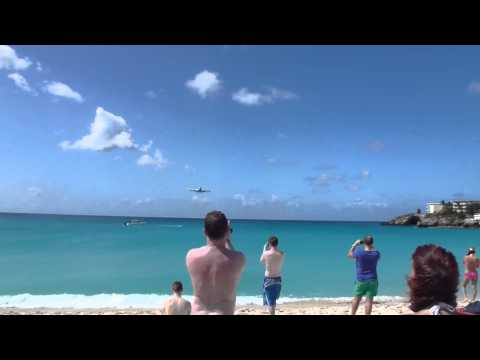 KLM 747 landing at St Maarten, Netherlands Antilles