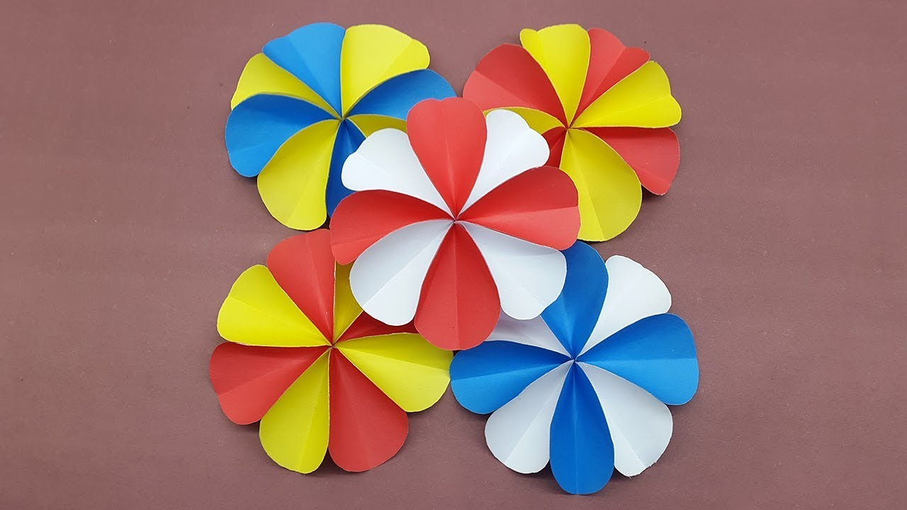 How to make a paper flowers using colors paper | DIY Paper Flower ...