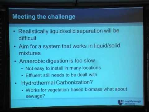 A toilet system based on hydrothermal carbonization (S. Martin, University of Loughborough)