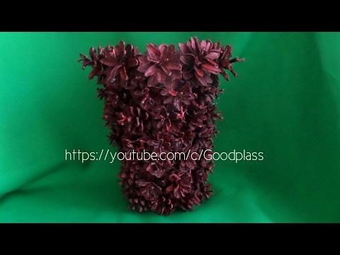 Как сделать напольную вазу из шишек видео